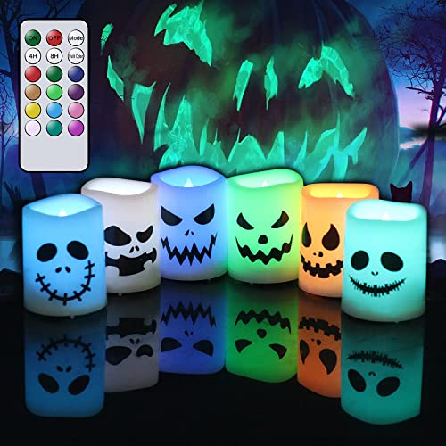 """lowest GenSwin Halloween Flameless Votive Candles Color Changing with Remote Timer, popular Battery Operated LED Tealight Candles for Halloween Home Decoration sale Gifts(6 Pack, 1.5"""" x 2"""")(Battery Included) online sale"""
