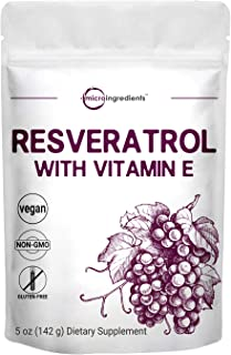 Pure Trans-Resveratrol Powder with Vitamin E, 5 Ounce, Super Antioxidant for Cardiovascular Support, Non-GMO and Vegan Fri...