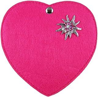 Herz Trachtentasche mit Edelweiß Applikation für Kinder Pink