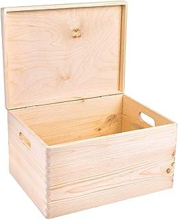 Creative Deco XXL Boîte de Rangement Bois Grande | 40x30x24cm (+/- 1cm) | avec Couvercle et Poignées | Non Peinte | Caisse...