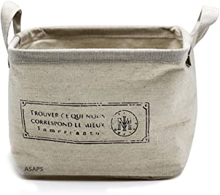 Storage Basket Storage Bin Storage Cube with Handles Small Canvas Fabric Cotton Linen Collapsible, French S, Small(8.25 x 7.87 x 5.91 inch)