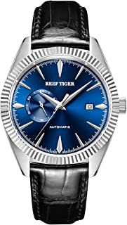 Luxury Automatic Watches for Men Blue Dial Strap Steel Dress Watch RGA1616