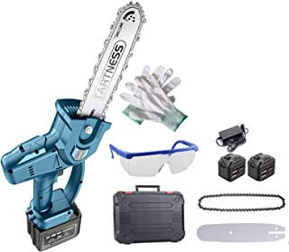 XLOO Brushless batteri motorsåg, elektrisk motorsågssats med 2 batterier, skyddsglasögon, handskar, för trädgård och träds...