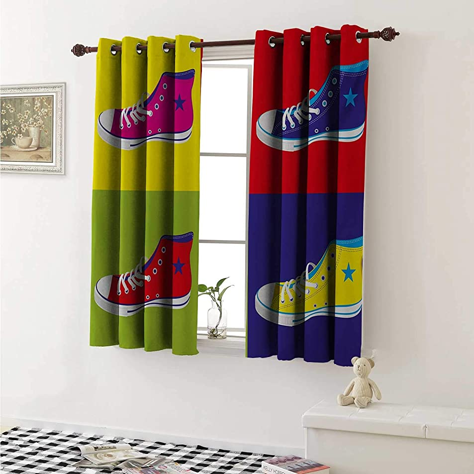Teen Room Thermal Insulating Blackout Curtain Retro Style Kitsch Sport Shoes in Background Culture Graphic Print Curtains Girls Room W55 x L39 Inch Multicolor pxjxxete0082