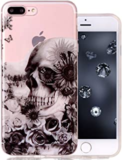 Clear iPhone 7 Plus Case Protective iPhone 8 Plus Case Aeeque Ultra Thin [Slim Fit] Transparent Anti-Scratch Soft Gel Silicone Rubber Phone Cases Cover for iPhone 7+/7Plus/8+/8Plus, Black Skull Rose