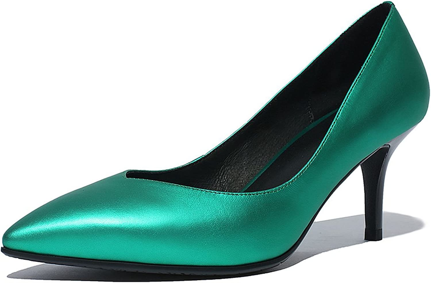 VIMISAOI Women's Genuine Leather Pointed Toe Stiletto Dress Pumps shoes