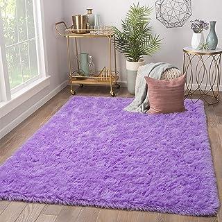 Terrug Soft Kids Room Rug, Purple Shag Area Rugs for...