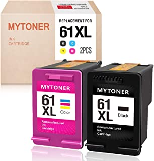 MYTONER Remanufactured Ink Cartridge Replacement for HP 61XL 61 XL for HP Envy 4500 5530 5534 5535, HP Deskjet 1000 1010 1512 2540 3050, HP Officejet 4630 2620 4635 Printer (Black, Tri-Color 2-Pack)