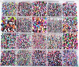 SOLUSTRE 100pcs Tongue Ring Barbells Nipple Rings Mix Acrylic Ball Steel Body Piercing Jewelry Eyebrows Tongue Lip and Mor...