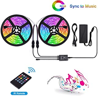 LUNSY RGB LED Light Strips Music Sync, Dimmable Strip Lights with Remote, 32.8 ft/10m, 12V, Waterproof, Rope Lights Outdoor, Sound Activated, 300 LED 5050