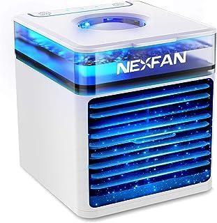 冷風機 卓上 【2021最新バージョン】 冷風扇 USB給電式 加湿機能 扇風機 氷いれ可能 3段階風量調節 7色LEDライト ミニエアコン ポータブルエアコン アロマ 角度調整 熱中症 暑さ対策 オフィス 個室 (ホワイト)