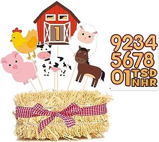 Farm Birthday Party Centerpiece Sticks, DIY Farm Animals Table Decorations Barnyard Cutouts for Baby Shower, Birthday Deco...