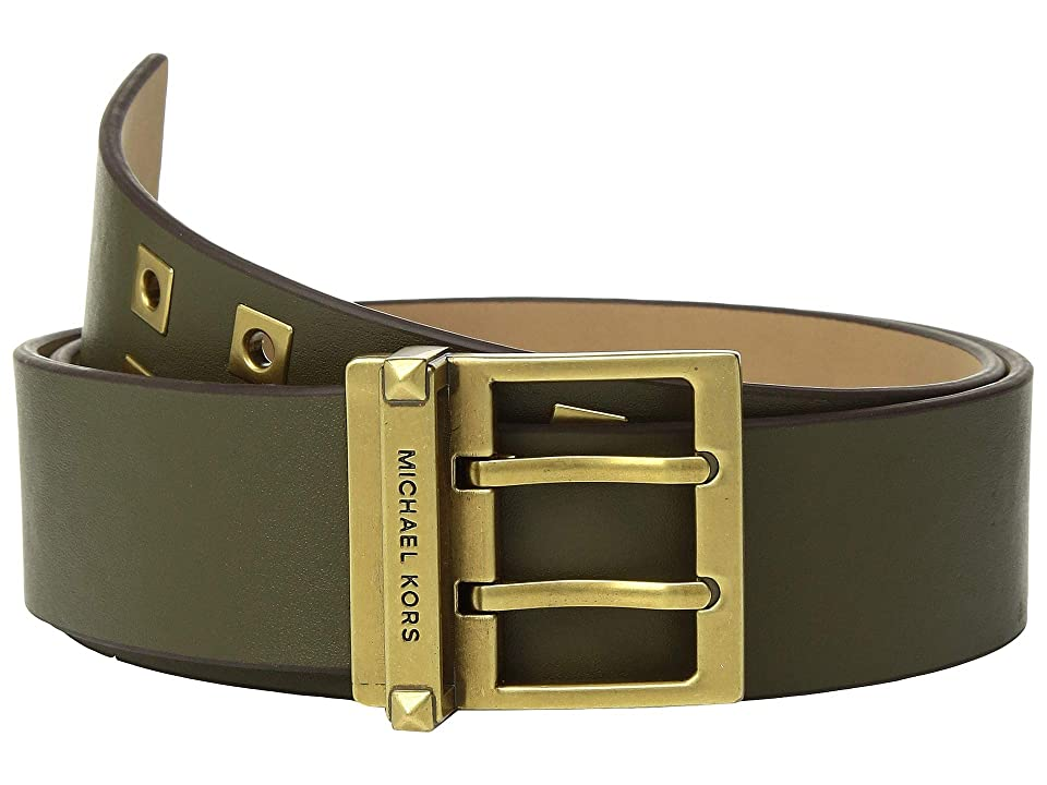 MICHAEL Michael Kors 42 mm (1 3/4) Square Grommet Belt (Olive Smooth) Women