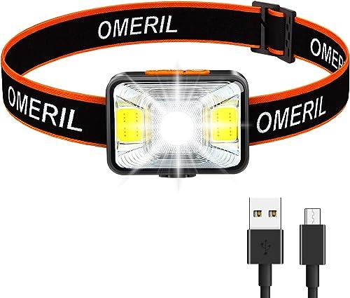 OMERIL Lampe Frontale LED USB Rechargeable 1800 mAh,200 Lumens avec 5 Modes D'éclairage Blanc et Rouge, Torche Fronta...