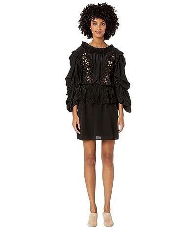 The Kooples Bare Shoulder Lace Puff Sleeves Short Dress (Black) Women