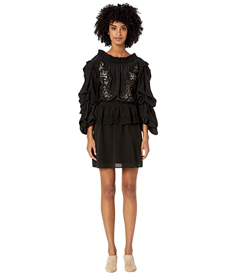 The Kooples Bare Shoulder Lace & Puff Sleeves Short Dress