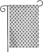 Mannwarehouse Fleur De Lis Garden Flag Abstract Flower Pattern European Western Civilization Inspirations Baroque Premium Material W12 x L18 Black White