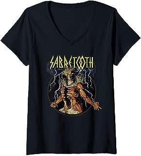 Womens Marvel Sabretooth Retro Retro Portrait Logo V-Neck T-Shirt