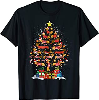 Dachshund With Christmas Tree T-Shirt For Men Women Kids
