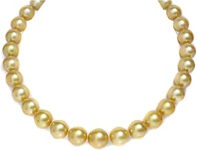 14K Gold 16-12mm Deep Golden South Sea Pearl Necklace - AAA Quality, 18