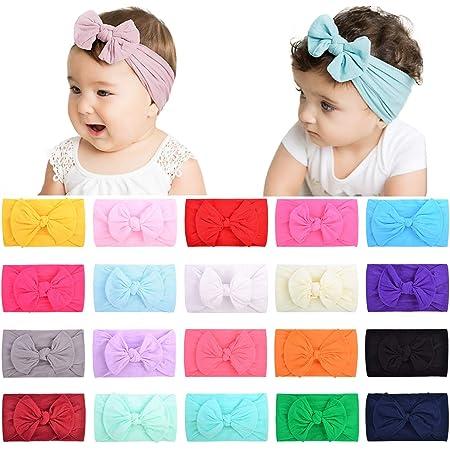 choicbaby 20 unidades vinchas de nailon, gomas de pelo, cintas para bebés, recién nacidos, niños pequeños