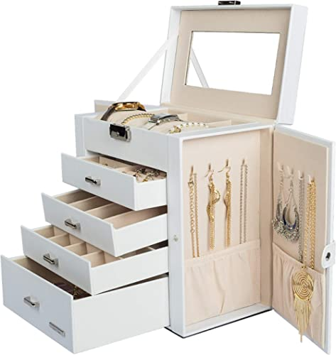 Homde Synthetic Leather Huge Jewelry Box Mirrored Watch Organizer Necklace Ring Earring Storage Lockable Gift Case (W...