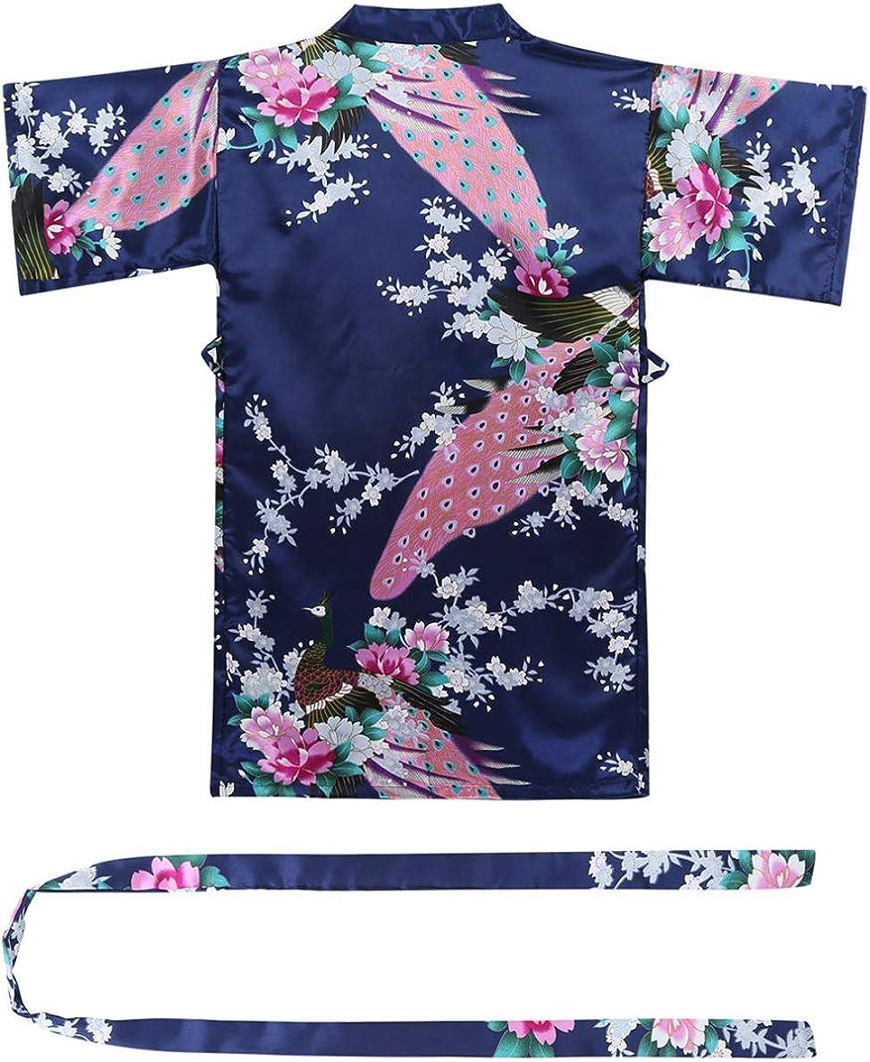 CHICTRY M/ädchen Satin Bademantel Kinomo Robe mit Blumen /& Pfauen-Muster Morgenmantel Schlafanzug Nachtw/äsche Nachthemd in 8 Farben