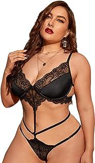 SOLY HUX Women's Plus Size Floral Lace Lingerie Teddy Bodysuit Plain Black 2XL