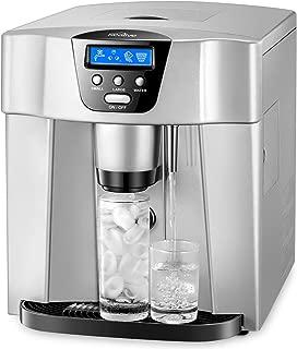 Machine à Glaçons Kealive, Machine à Glace Automatique avec Écran LCD, Bouton Glace et Bouton eau Froide, 9 Glaçons / 6-10 Min, 12kg-15kg Glace / 24h, Remplir un tuyau d'eau / 1.8L Réservoir/Argent