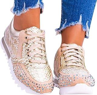 Buhui - Scarpe sportive da corsa, con strass, eleganti, ortopediche, comode, casual, leggere, scarpe da ginnastica