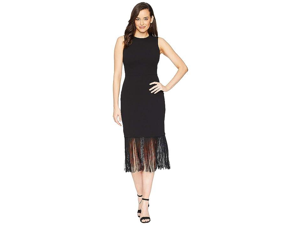 Calvin Klein Fringe Hem Dress (Black) Women