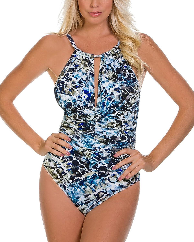 Magicsuit Seaglass Kat Printed HighNeck TummyControl OnePiece Swimsuit