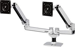 AmazonBasics Premium Dual Arm Monitor Stand - Lift Engine Arm Mount, Aluminum - Silver