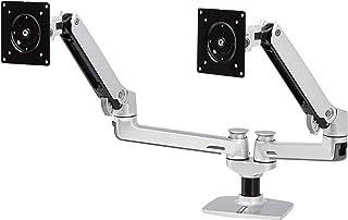 AmazonBasics Premium Dual Arm Monitor Stand - Lift Engine Arm Mount, Aluminum - Silver