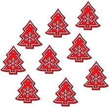 Noon-Sunshine decorative-plaques 10pcs Red Christmas Pendants White Wooden Xmas Hanging Ornaments Christmas Tree,Xmas Tree red 1