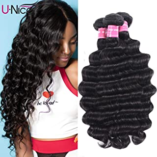 UNice Hair 10A Brazilian Loose Deep Wave Hair 3 Bundles, 100% Unprocessed Human Virgin Hair Weave Extensions Natural Color (12 14 16)