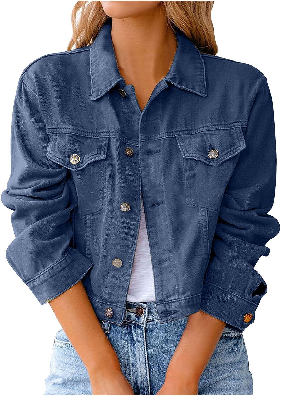 Jean Jacket Women Loose Denim Jacket Casual Long Sleeve Basic Button Down Jean Jacket with Pockets
