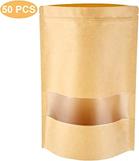 Stand Up Pouch Bags, 50 Pack Kraft Pouch with Tear Notch and Matte Window, Heat sealable Zip Lock Food Storage Bag (3.5