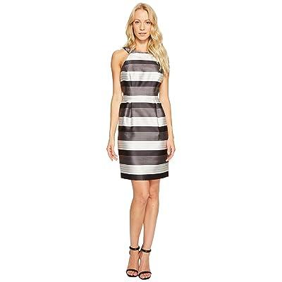 Jessica Simpson Striped Halter Sateen Dress (Black/White) Women