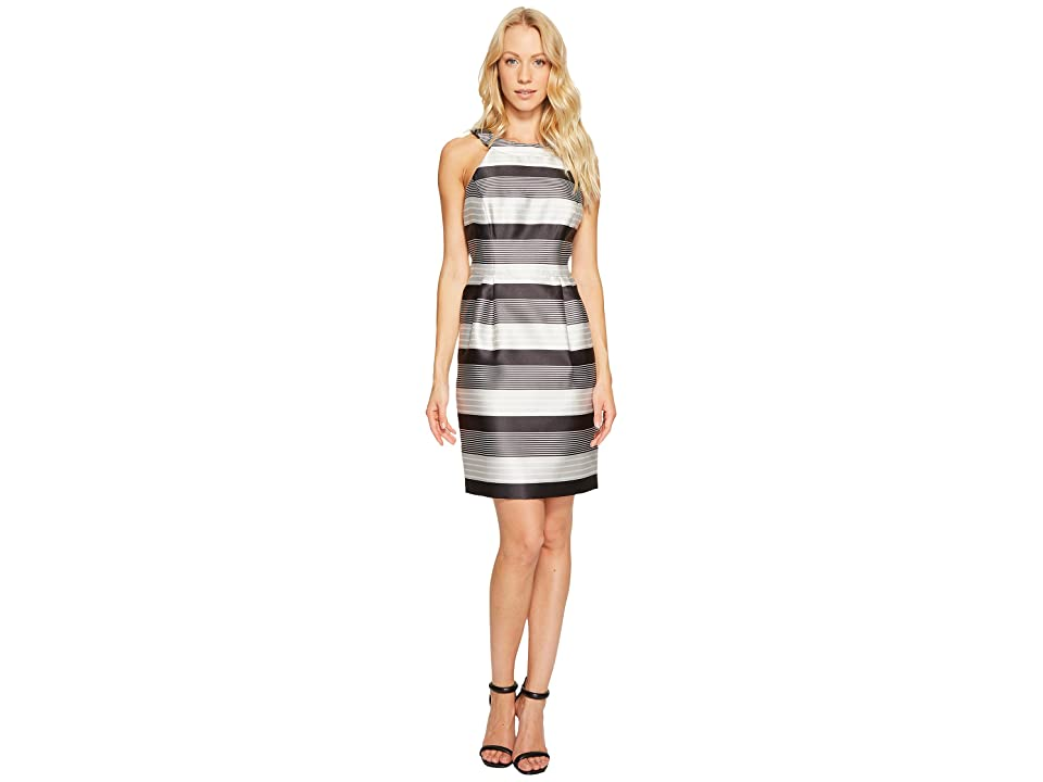 Jessica Simpson Striped Halter Sateen Dress (Black/White) Women