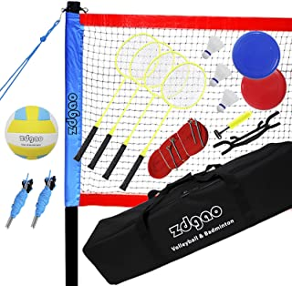 Zdgao Badminton & Volleyball Combo Set - Professional Volleyball Net for Lawn, Backyard, Easy Set up Volleyball Set with C...