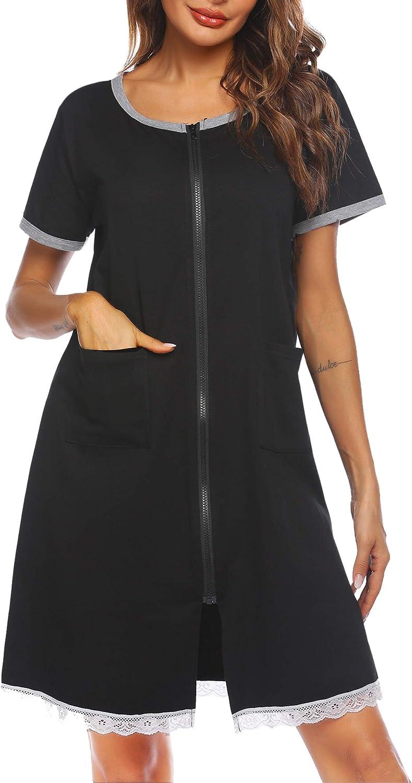 Ekouaer Womens Zip Front Robes Lightweight House Coat Zipper Nightgown(S-XXL)
