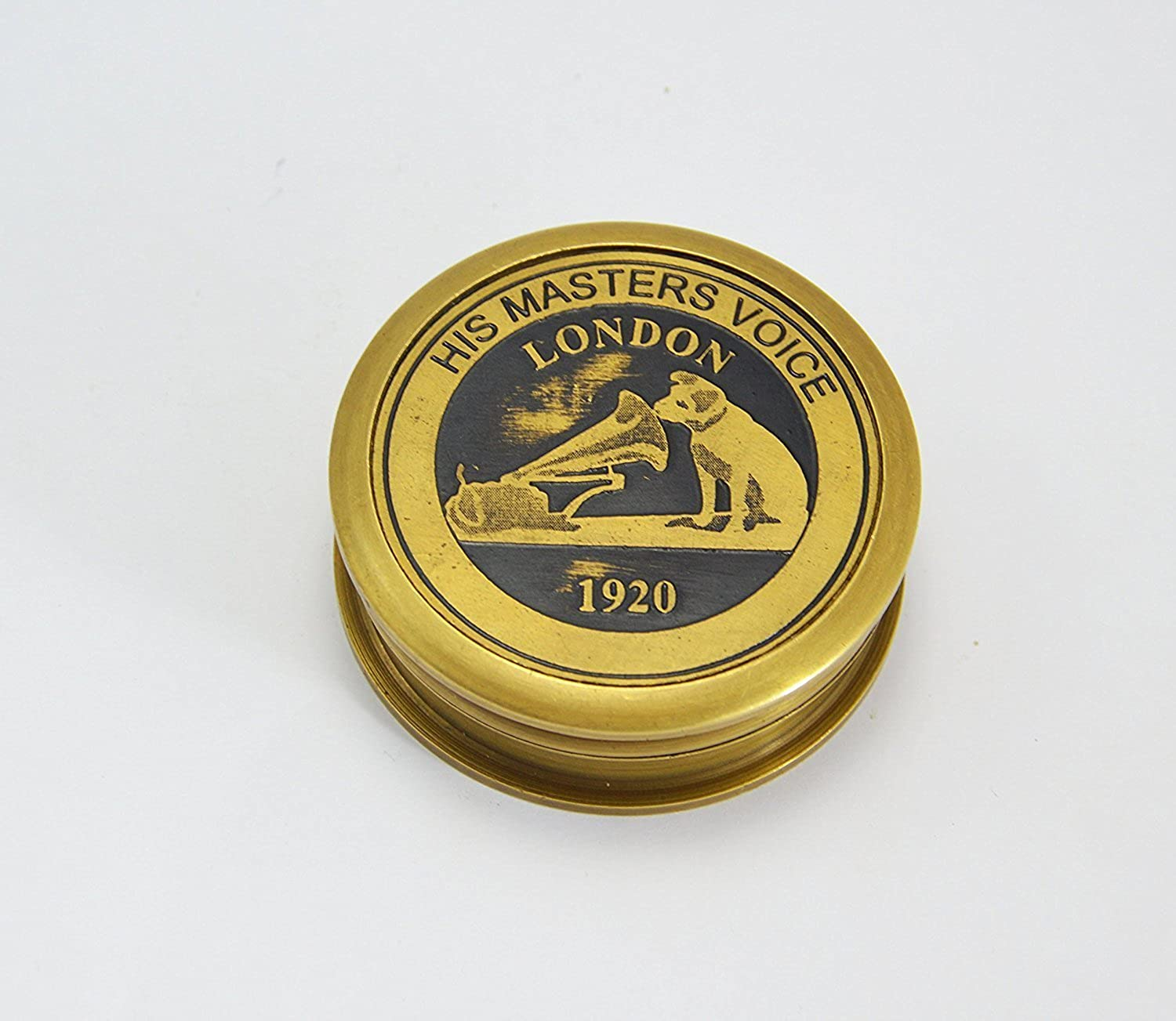 2.5   Brass His Masters Voice Compass Pocket Compass