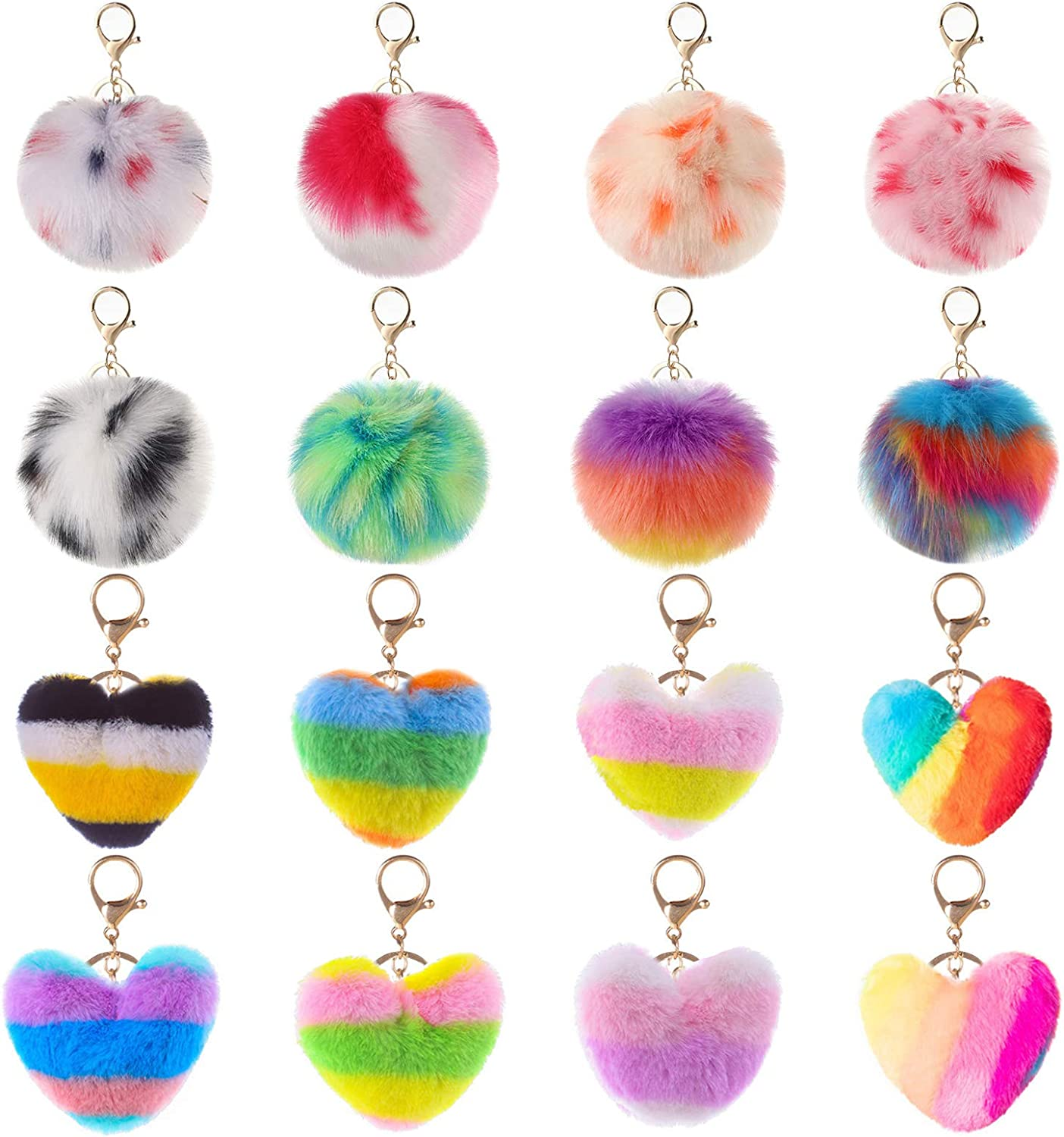 AMCEMIC 16 Pieces Pom Poms Keychains Fluffy Max 65% OFF Ball National products Shap Fur Heart