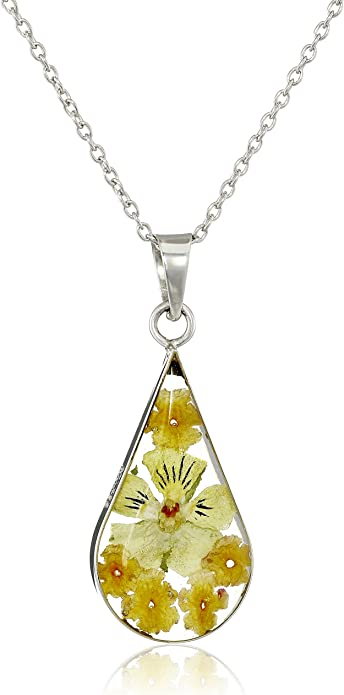 unique necklace with real flowers yellow