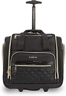 BEBE Women's Leena-Wheeled Under The Seat Carry On Bag, Black, One Size