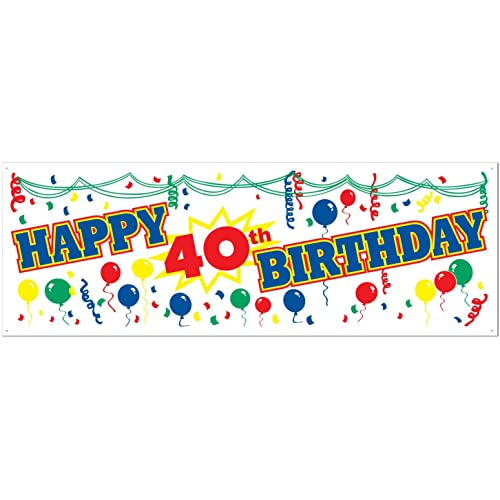 Happy 40th Birthday Sign Banner Party Accessory 1 Count Pkg