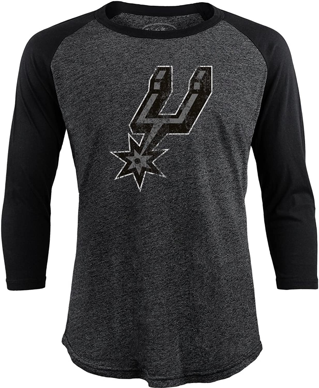 NBA San Antonio Spurs Men's Premium Triblend 3 4 Sleeve Raglan, Black, Large