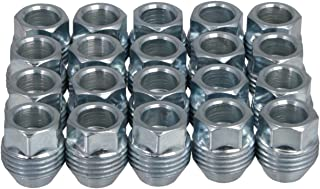 20pcs Chrome Silver Lug Nuts, Metric 12x1.5 Thread, 1 inch Length, Acorn Cone Conical Taper Seat, Open End Dual Thread (External) for OEM GM Wheels Buick Cadillac Chevrolet Chevy GMC