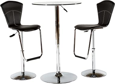 At Home USA - Adjustable Height Tempered Glass 27-inch Bar Table and 2 bar stools Set with Sturdy Base